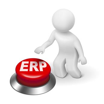 3d man with ERP Enterprise Resource Planning button