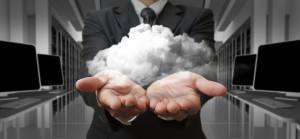 Businessman and the cloud computing concept